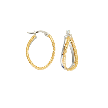 10KT White and Yellow Gold Oval Twist Rope Texture Hoop Earrings