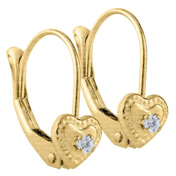 Children's 14kt Gold CZ Heart Leverback Earrings