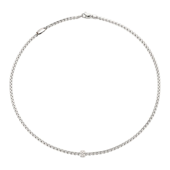 18k White Gold and Diamond Pave Necklace