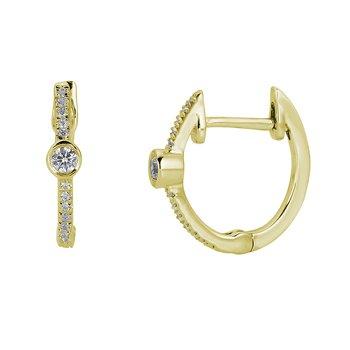 14KT Yellow Gold 0.06tw Diamond Huggy Earrings