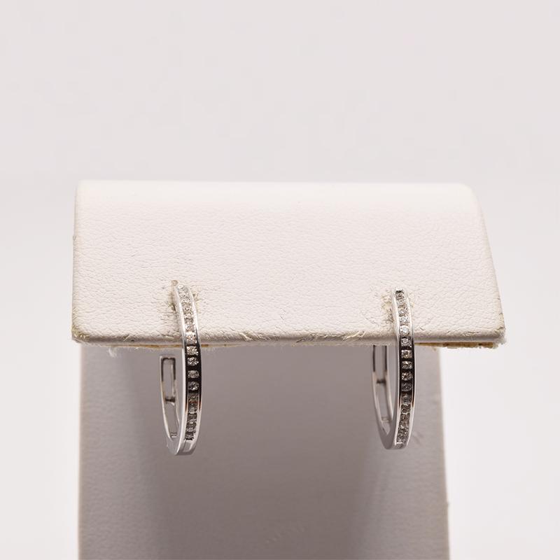 Estate 10KT White Gold Diamond Hoop Earrings
