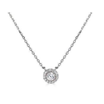 14KT White Gold 'Halo' 0.25cts Diamond Necklace