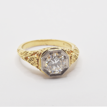 18KT Yellow and White Gold Antique Ring
