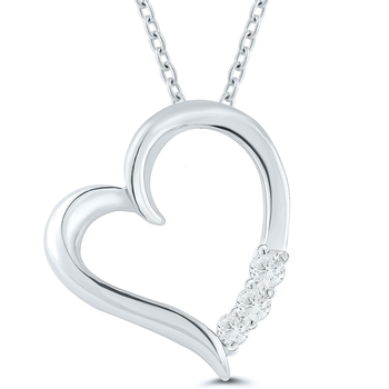 Lady's Sterling Silver and Diamond Heart Necklace