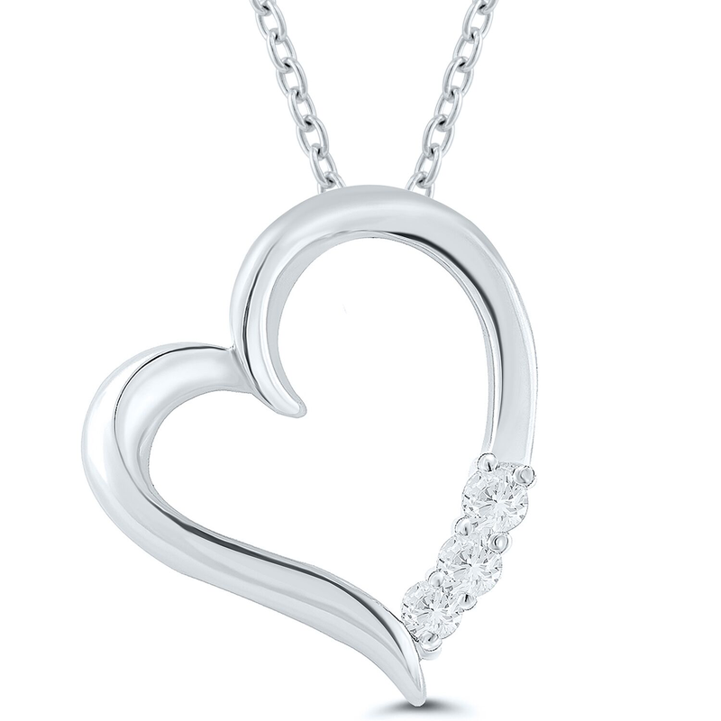Best Sellers Lady's Sterling Silver and Diamond Heart Necklace