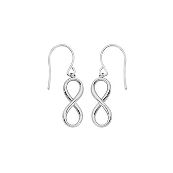 Infinity Sterling Silver/Rhodium Plated Drop Earrings