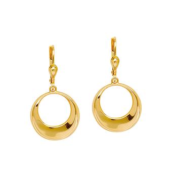 10KT Yellow Gold Puffed Circle Drop Earrings