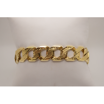 "14KT yellow gold 9"" Fancy Curb Link Bracelet"