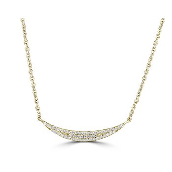 14KT White Gold 0.12tw Diamond Curved Necklace