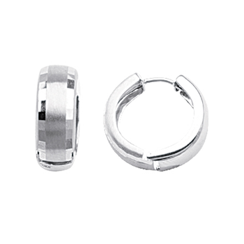 Sterling Silver With Diamond Cut Sides Huggies