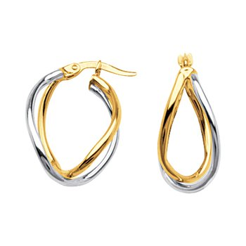 10kt Two Tone Designer Hoop Earrings