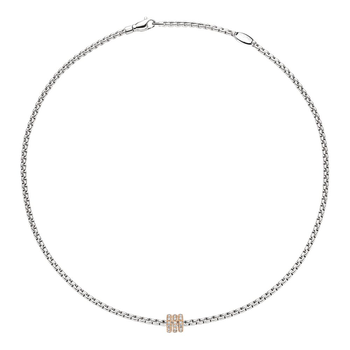 18k Rose and White Gold and Diamond Pave Necklace
