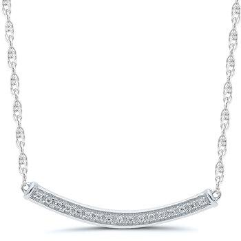 Lady's 10kt White Gold Diamond Bar Necklace