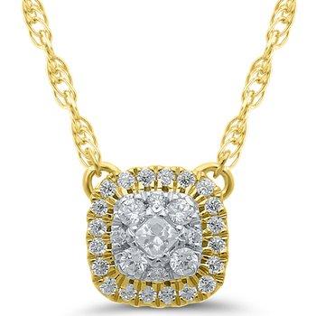 Lady's 10k Yellow Gold Square Multi Diamond Necklace