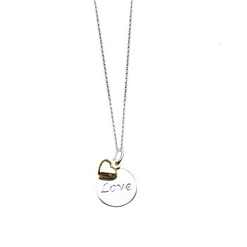 Lady's Sterling Silver/14K Love Disk Pendant/Chain