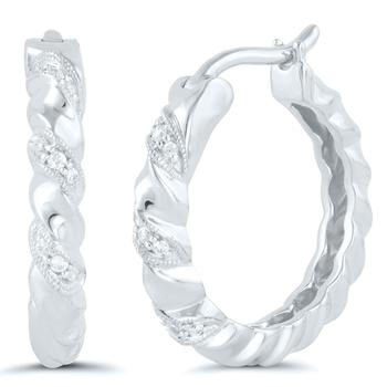 Pair of Sterling Silver Diamond Hoops