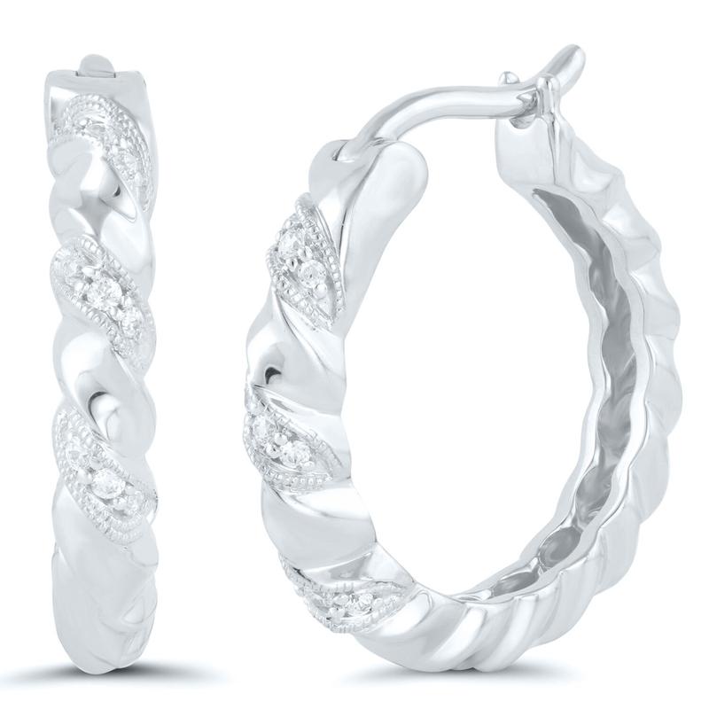 Best Sellers Pair of Sterling Silver Diamond Hoops