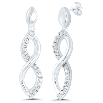 Pair of Sterling Silver Diamond Earrings