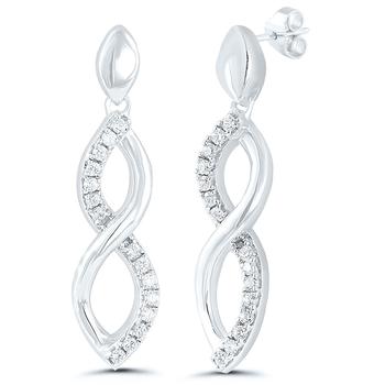 Pair of Sterling Silver Diamond Earrings