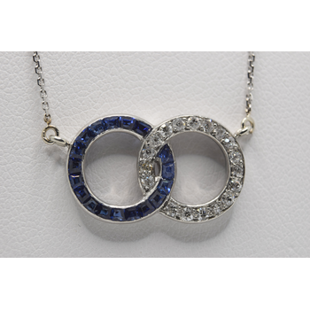 10KT and Platinum Sapphire and Diamond Necklace