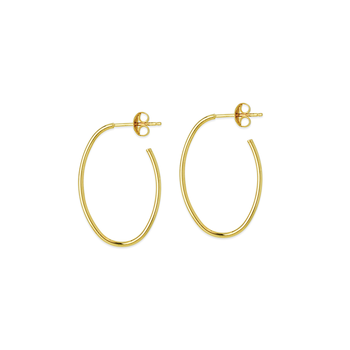 14KT Yellow Gold Oval Hoop with Stud Earrings