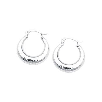 Sterling Silver/Rhodium Plated Hoop Earrings