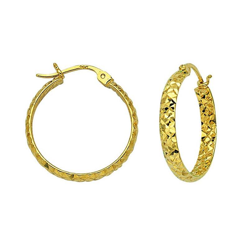 Best Sellers 10kt Yellow Gold Diamond Cut Hoop Earring