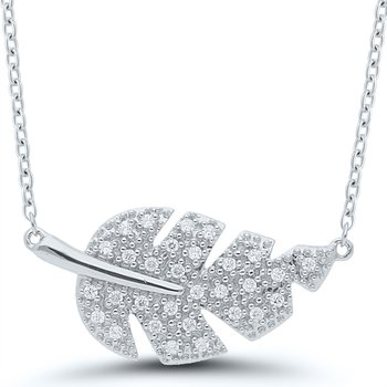 Lady's Sterling Silver Diamond Leaf Necklace