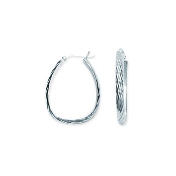 Sterling Silver/Rhodium Plated Oval Hoop Earrings