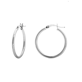 25mm 10kt White Gold Hoops
