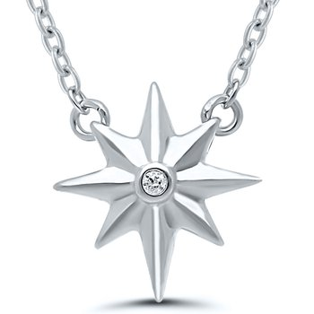 Lady's Star Sterling Silver Diamond Necklace