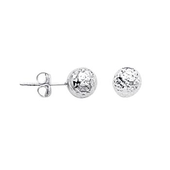 Sterling Silver/Rhodium Plated 7mm Diamond Cut Ball Studs