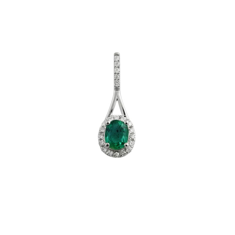 Best Sellers Lady's 14K White Gold Emerald and Diamond Pendant