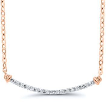 Lady's Sterling Silver/Rose Gold Plated Diamond Necklace