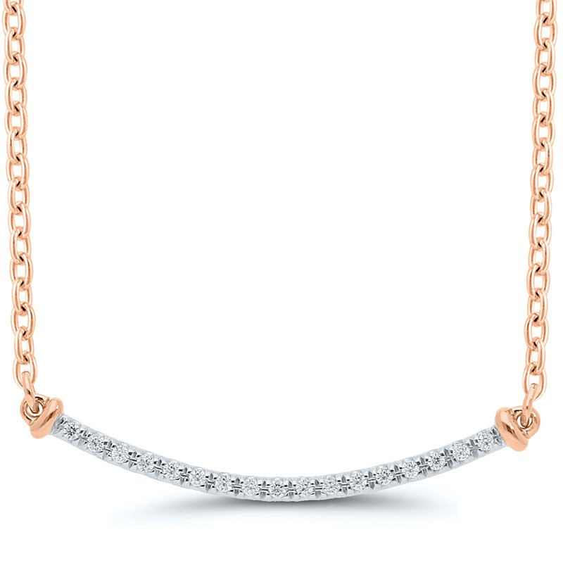Best Sellers Lady's Sterling Silver/Rose Gold Plated Diamond Necklace