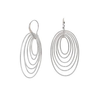Sterling Silver Fancy Oval Dangle Earrings