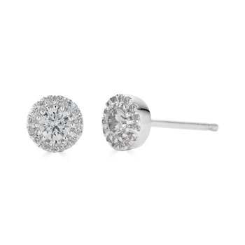 14KT White Gold 'Halo' 0.50cts Diamond Stud Earrings