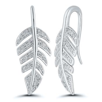 Pair of Leaf Sterling Silver Diamond Drop Earrings