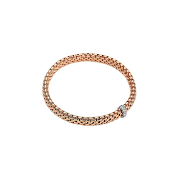 18k Rose and White Gold Flex'it Slip-on Bracelet w/ diamonds
