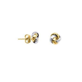 10KT Two Tone Love Knot Earrings