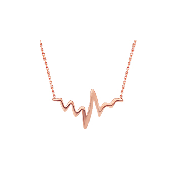 Sterling Silver Rose Gold Plated Heartbeat Necklace