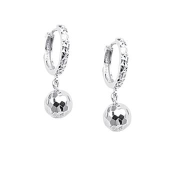 Sterling Silver Diamond Cut Ball Drop Earrings