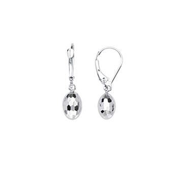 14KT White Gold Lever Back Oval Ball Drop Earrings