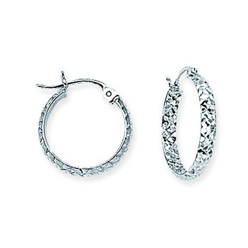 10kt White Gold Diamond Cut Hoop Earring