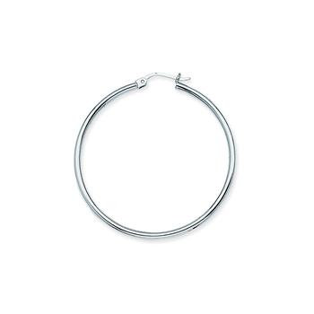 Sterling Silver/Rhodium Plated 45mm Hoop Earrings