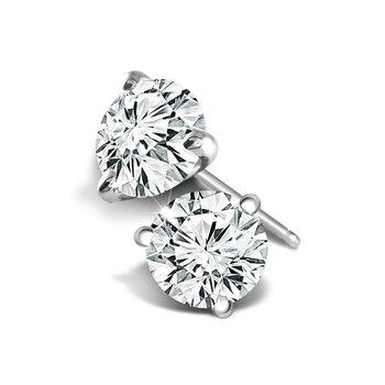 14KT White Gold 0.97tw Diamond Stud Earrings