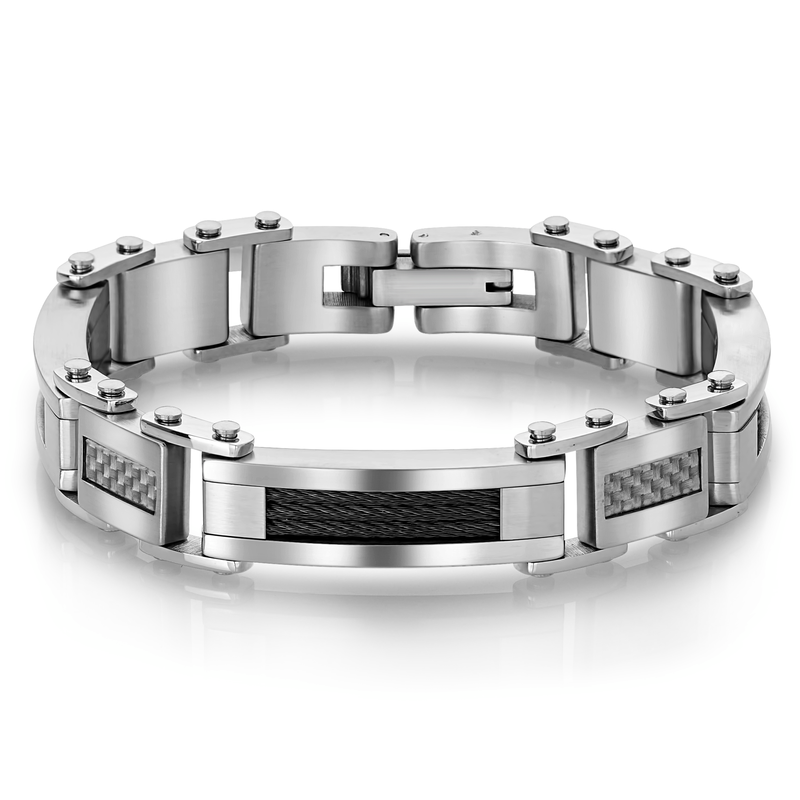 Best Sellers Stainless Steel Bracelet with White Carbon Fibre and Black Cable