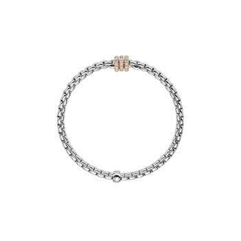 18k Rose / White Gold and Diamond Pave Flex'it Bracelet