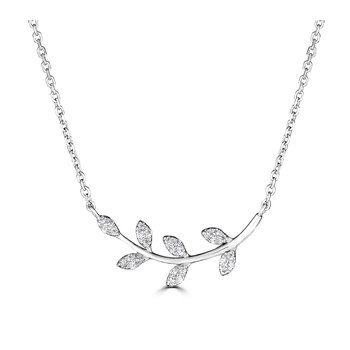 14KT White Gold 0.08tw Diamond Leaf Pattern Necklace