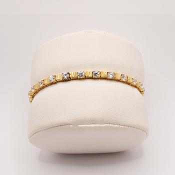 "10KT Yellow Gold Cubic Zirconia Bracelet 7.5"""